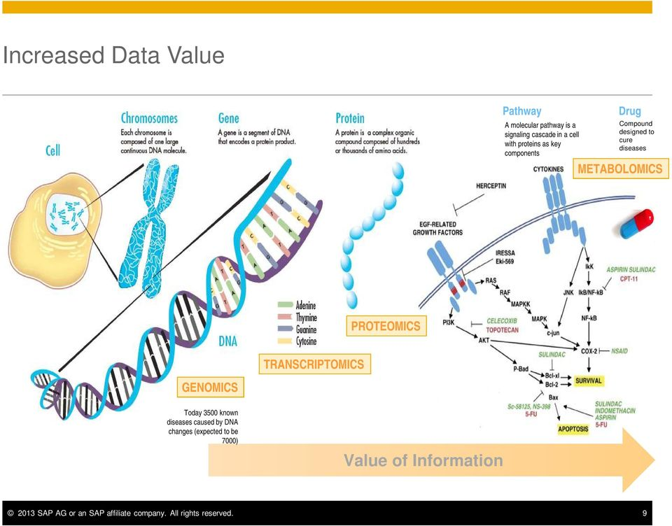 PROTEOMICS TRANSCRIPTOMICS GENOMICS Today 3500 known diseases caused by DNA changes