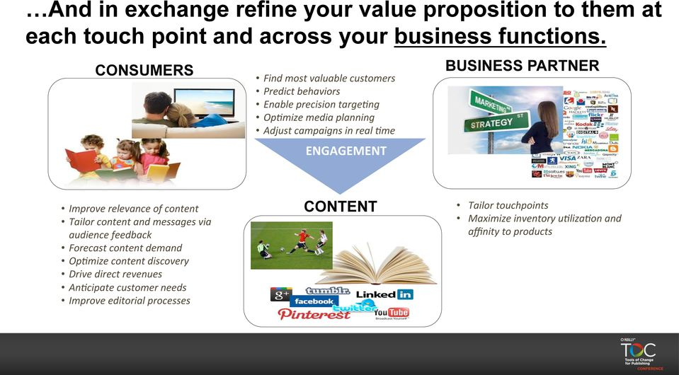ENGAGEMENT BUSINESS PARTNER Improve relevance of content Tailor content and messages via audience feedback Forecast content demand Op3mize
