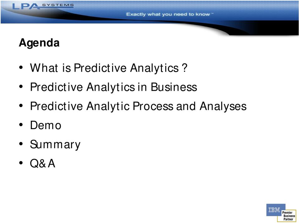 Predictive Analytics in