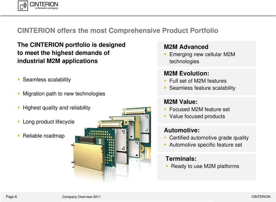 cellular M2M technologies M2M Evolution: Full set of M2M features Seamless feature scalability M2M Value: Focused M2M feature set Value focused