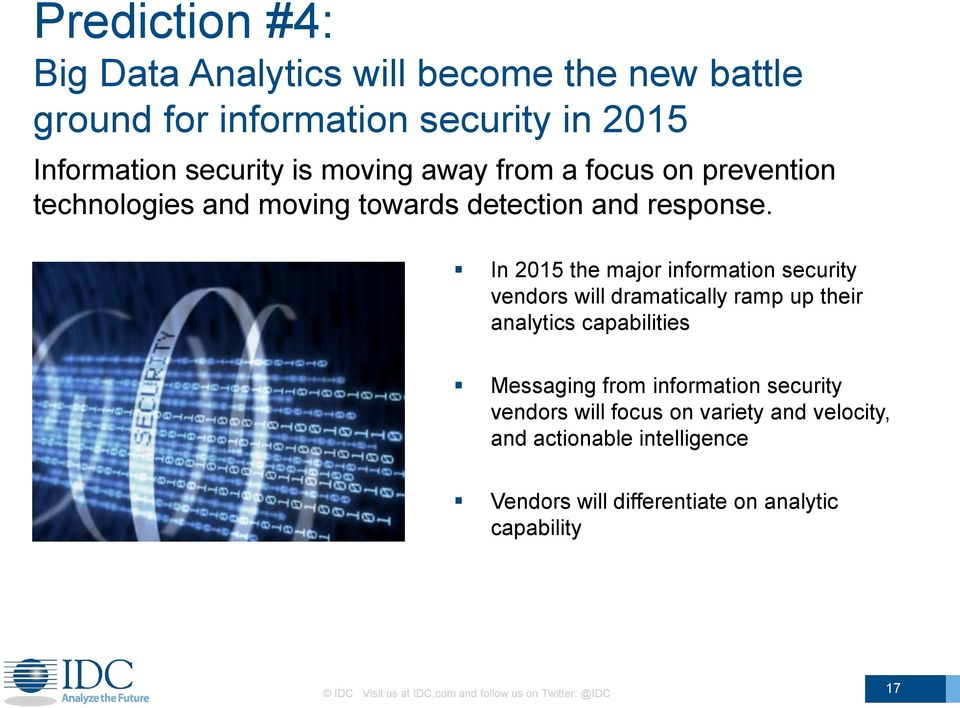 In 2015 the major information security vendors will dramatically ramp up their analytics capabilities Messaging from information
