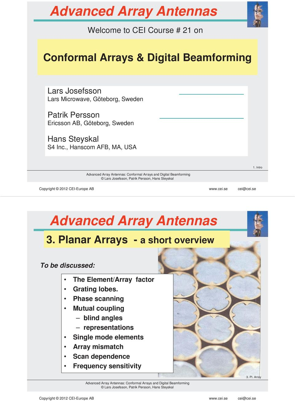 Intro Advanced Array Antennas 3. Planar Arrays - a short overview To be discussed: The Element/Array factor Grating lobes.