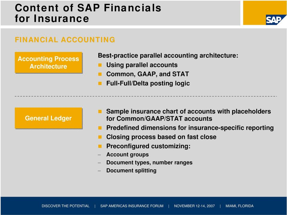 insurance chart of accounts with placeholders for Common/GAAP/STAT accounts Predefined dimensions for insurance-specific