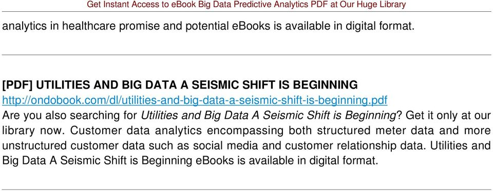 pdf Are you also searching for Utilities and Big Data A Seismic Shift is Beginning? Get it only at our library now.