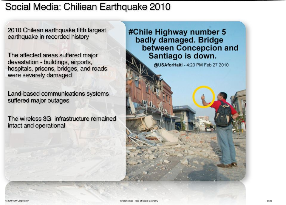 and roads were severely damaged Land-based communications systems suffered major outages The wireless 3G