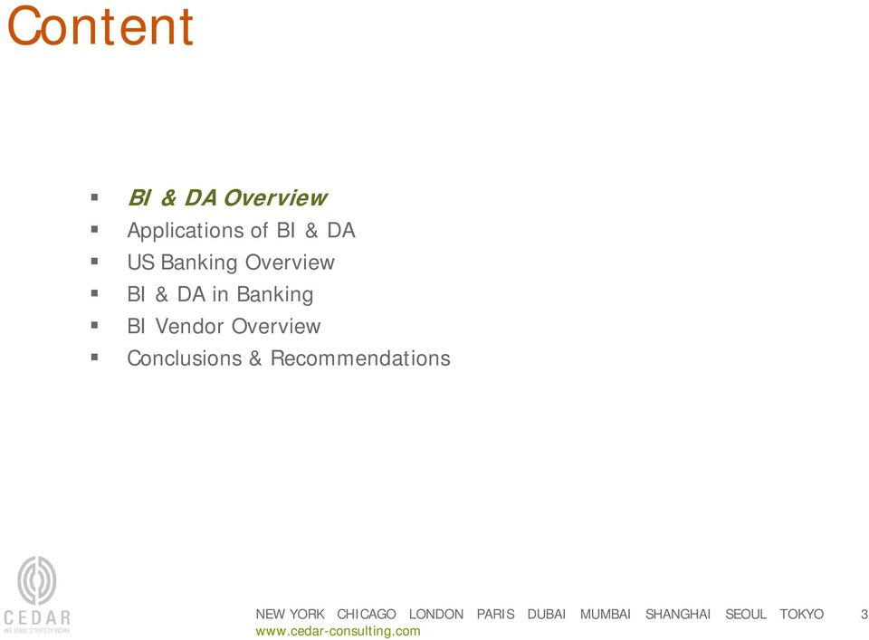 Overview BI & DA in Banking BI