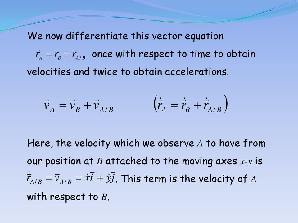 v = v + v ( r = r + r ) / / Here, the velocity which we observe to have from our
