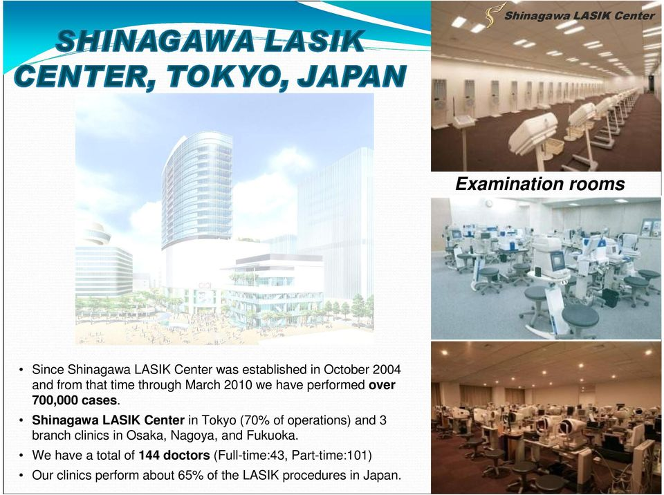 in Tokyo (70% of operations) and 3 branch clinics in Osaka, Nagoya, and Fukuoka.