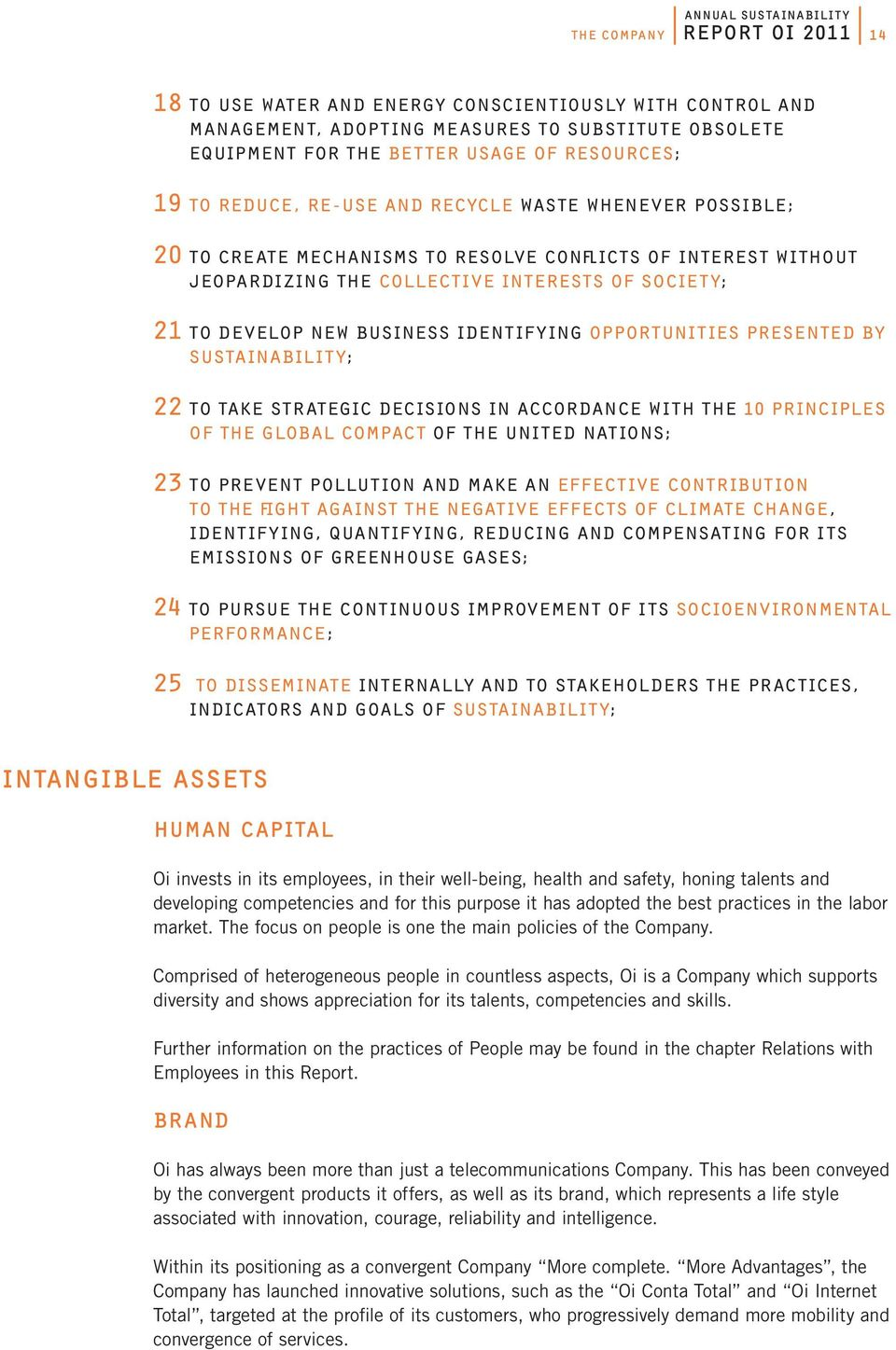 identifying opportunities presented by Sustainability; 22 To take strategic decisions in accordance with the 10 principles of the Global Compact of the United Nations; 23 To prevent pollution and