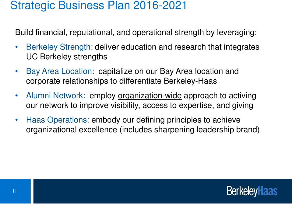 relationships to differentiate Berkeley-Haas Alumni Network: employ organization-wide approach to activing our network to improve
