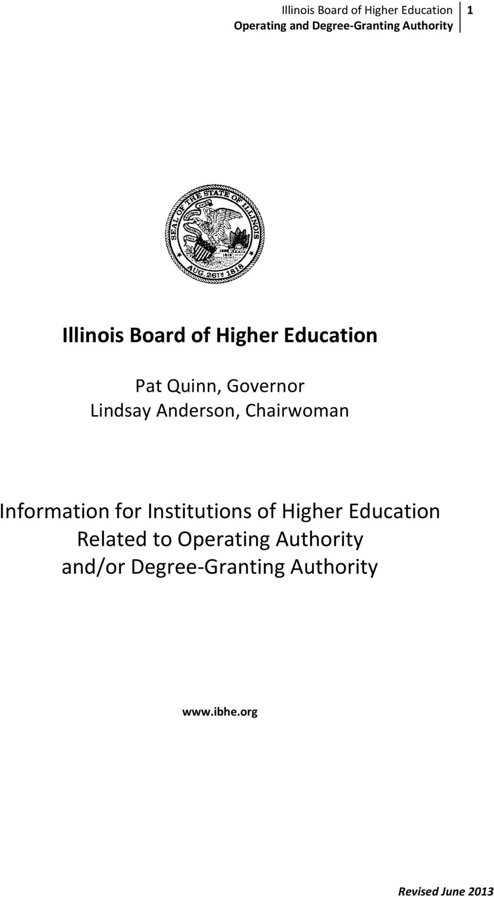of Higher Education Related to Operating Authority and/or