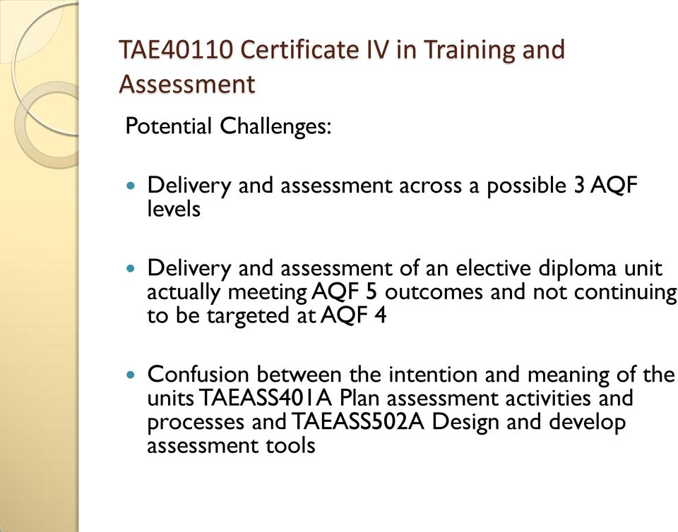 Tae40110 Certificate Iv In Training And Assessment Qualification Pdf