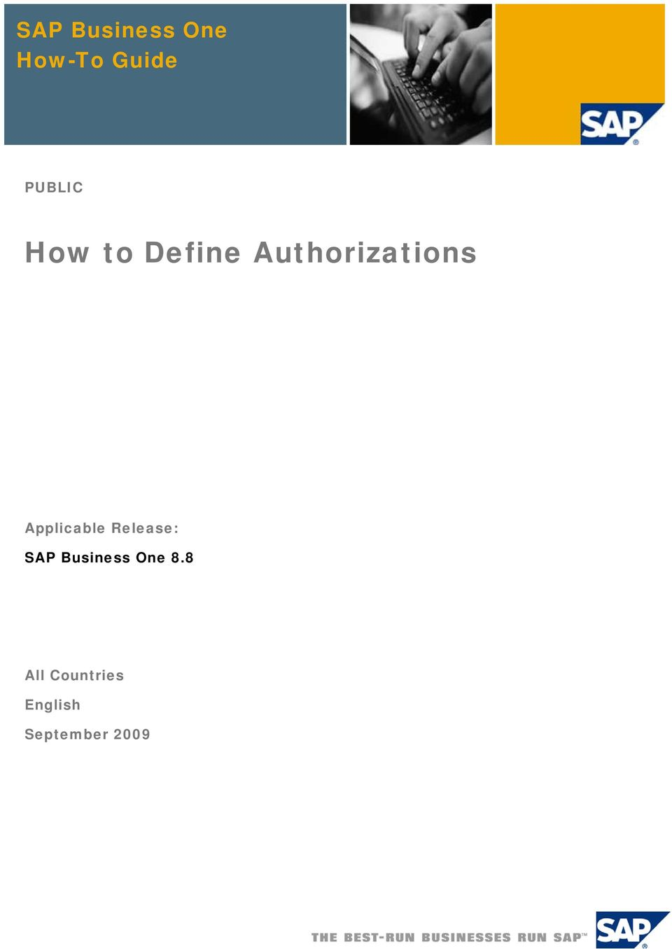 Applicable Release: SAP Business