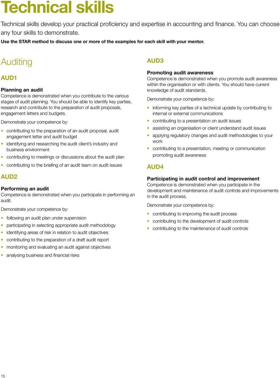 Auditing AUD1 Planning an audit Competence is demonstrated when you contribute to the various stages of audit planning.