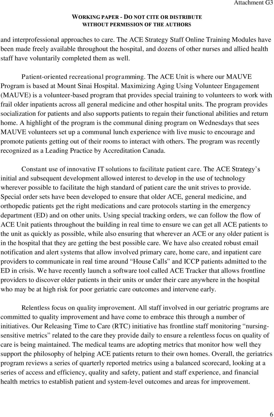 AN OVERVIEW OF MOUNT SINAI HOSPITAL S ACUTE CARE FOR ELDERS