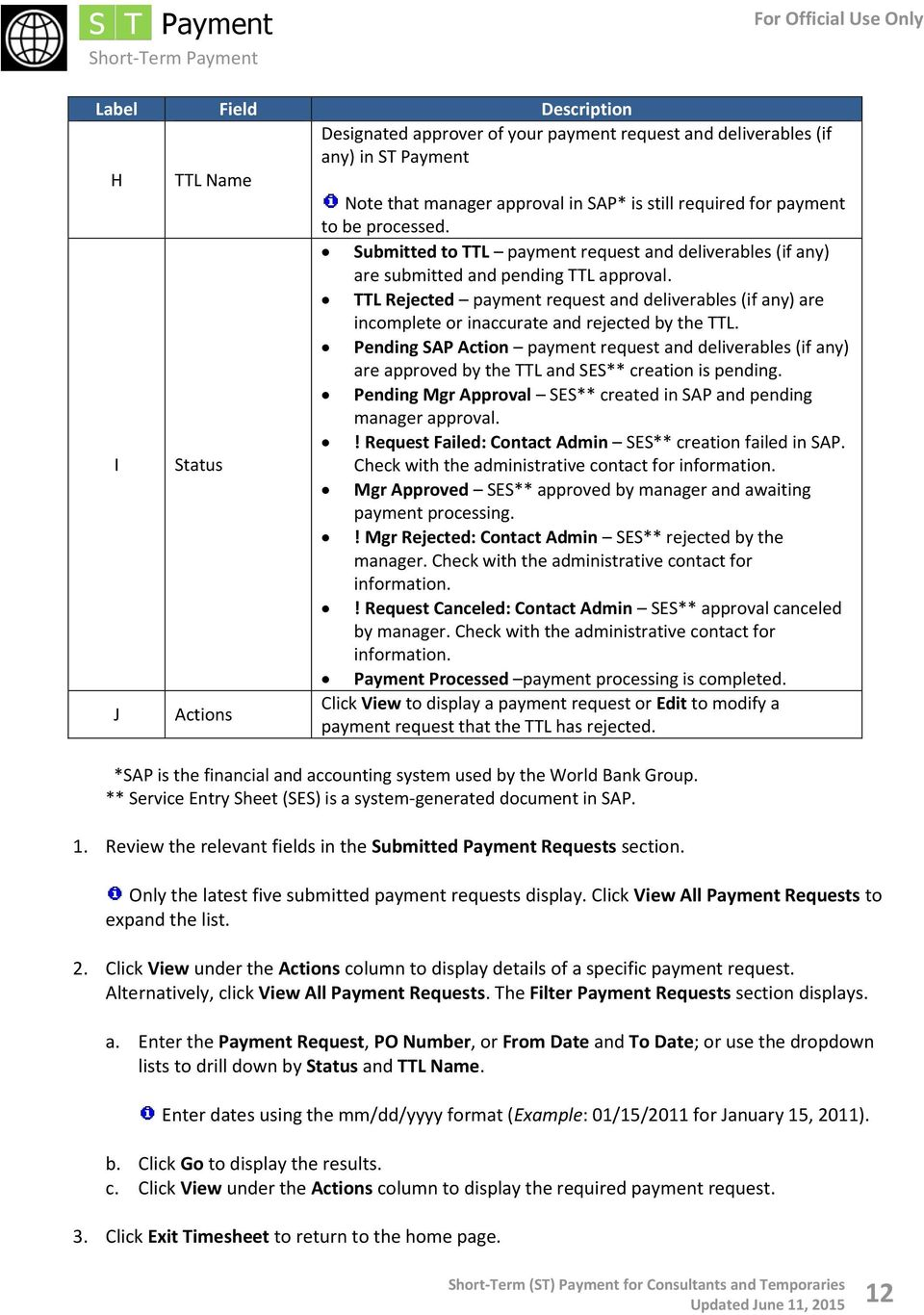 TTL Rejected payment request and deliverables (if any) are incomplete or inaccurate and rejected by the TTL.