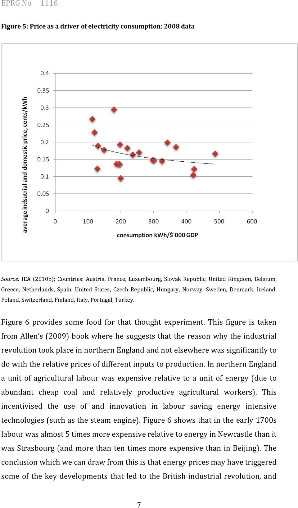 This figure is taken from Allen s (2009) book where he suggests that the reason why the industrial revolution took place in northern England and not elsewhere was significantly to do with the