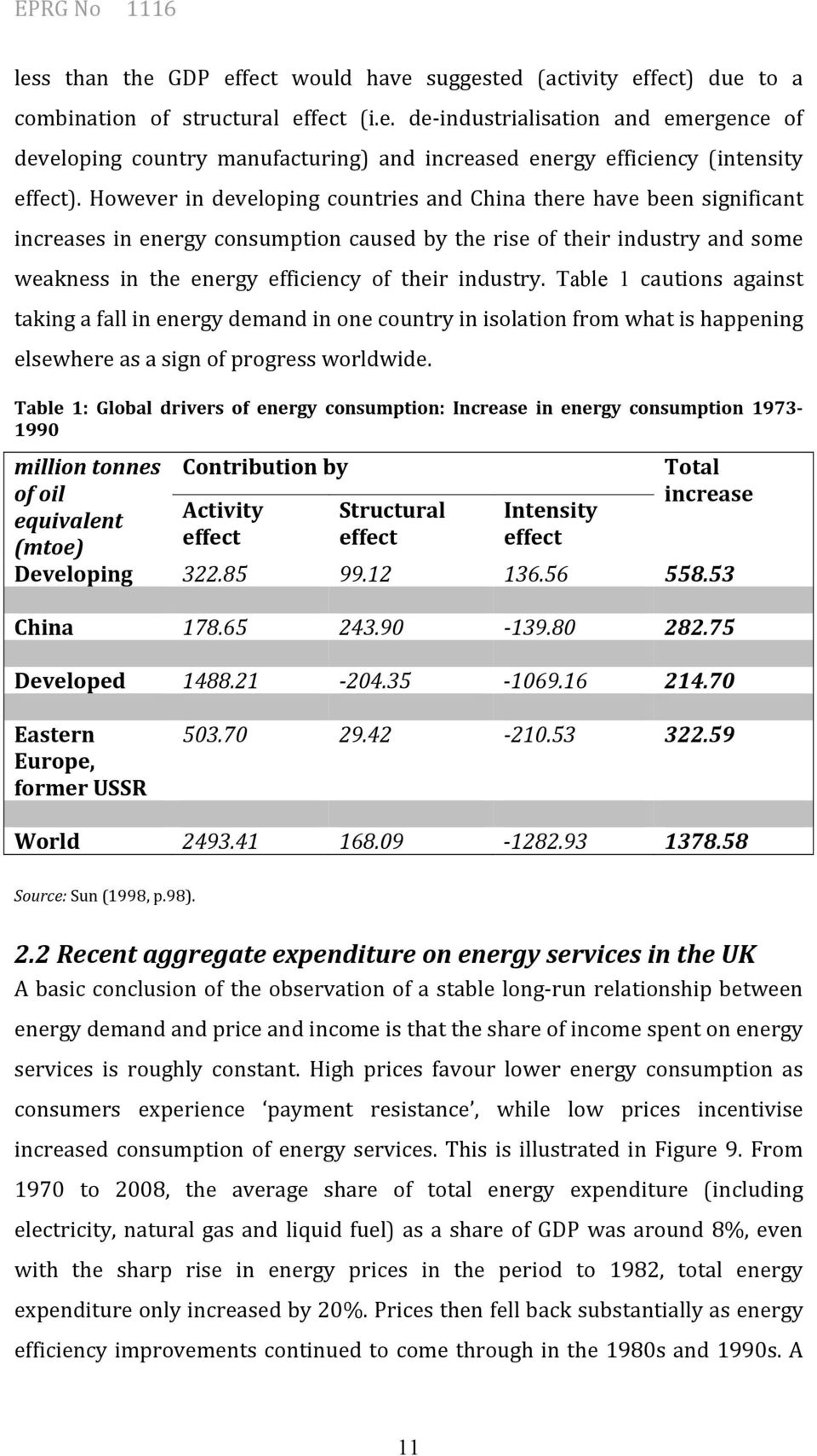 Table 1 cautions against taking a fall in energy demand in one country in isolation from what is happening elsewhere as a sign of progress worldwide.