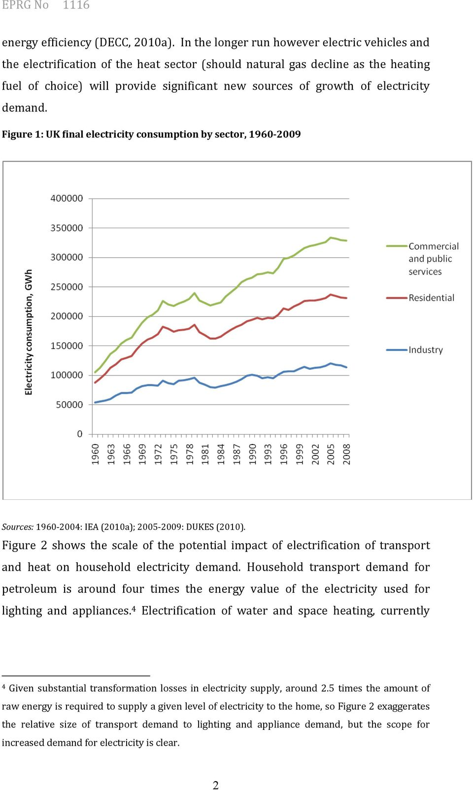 electricity demand. Figure 1: UK final electricity consumption by sector, 1960-2009 Sources: 1960-2004: IEA (2010a); 2005-2009: DUKES (2010).