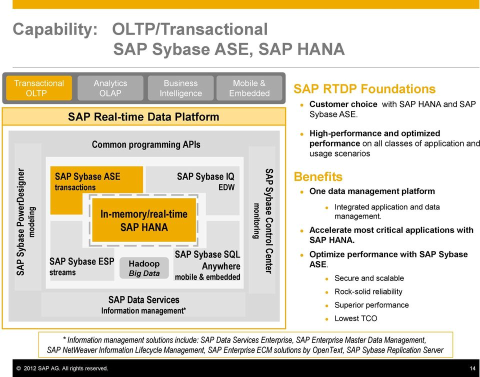 Common programming APIs High-performance and optimized performance on all classes of application and usage scenarios SAP Sybase ASE transactions SAP Sybase ESP streams In-memory/real-time SAP HANA