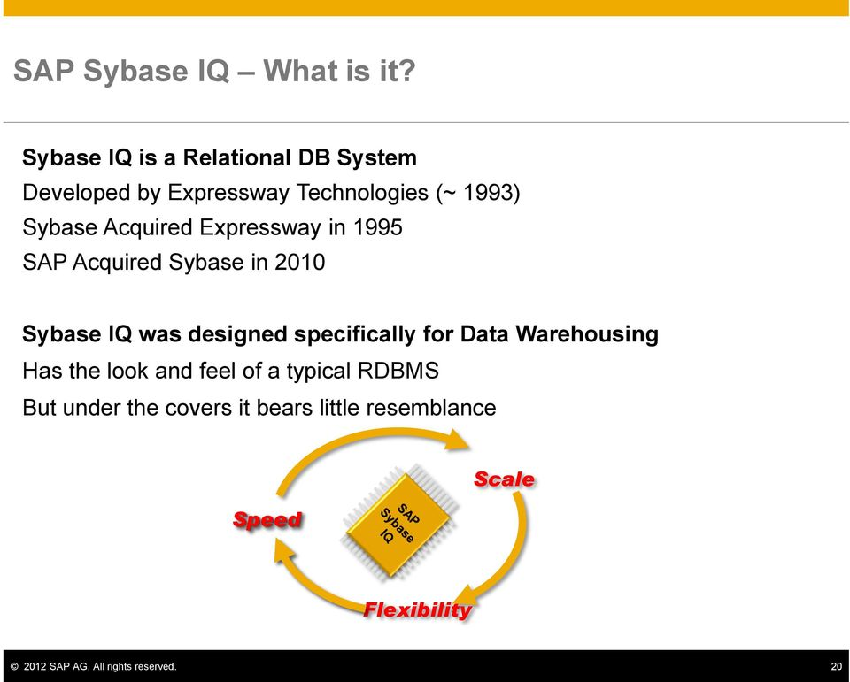 Acquired Expressway in 1995 SAP Acquired Sybase in 2010 Sybase IQ was designed specifically