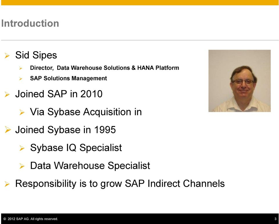 Joined Sybase in 1995 Sybase IQ Specialist Data Warehouse Specialist
