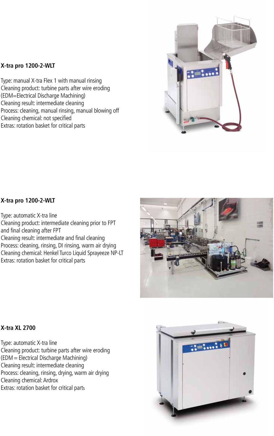 cleaning after FPT Cleaning result: intermediate and final cleaning Process: cleaning, rinsing, DI rinsing, warm air drying Cleaning chemical: Henkel Turco Liquid Sprayeeze NP-LT X-tra XL 2700 Type: