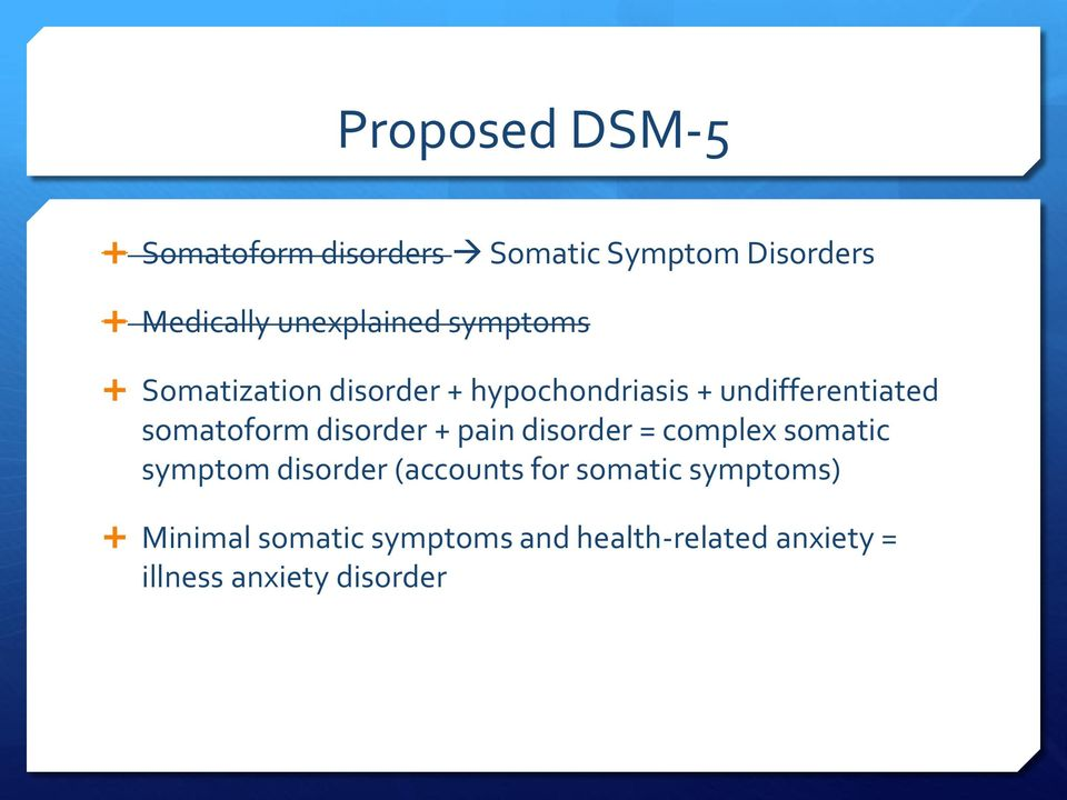 disorder + pain disorder = complex somatic symptom disorder (accounts for somatic