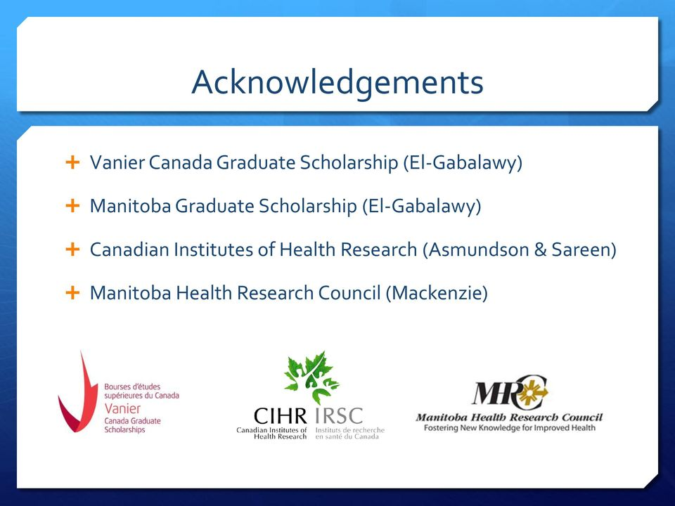 (El-Gabalawy) Canadian Institutes of Health Research