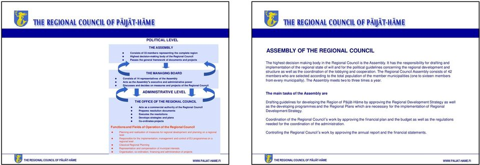 OF THE REGIONAL COUNCIL The highest decision making body in the Regional Council is the Assembly.