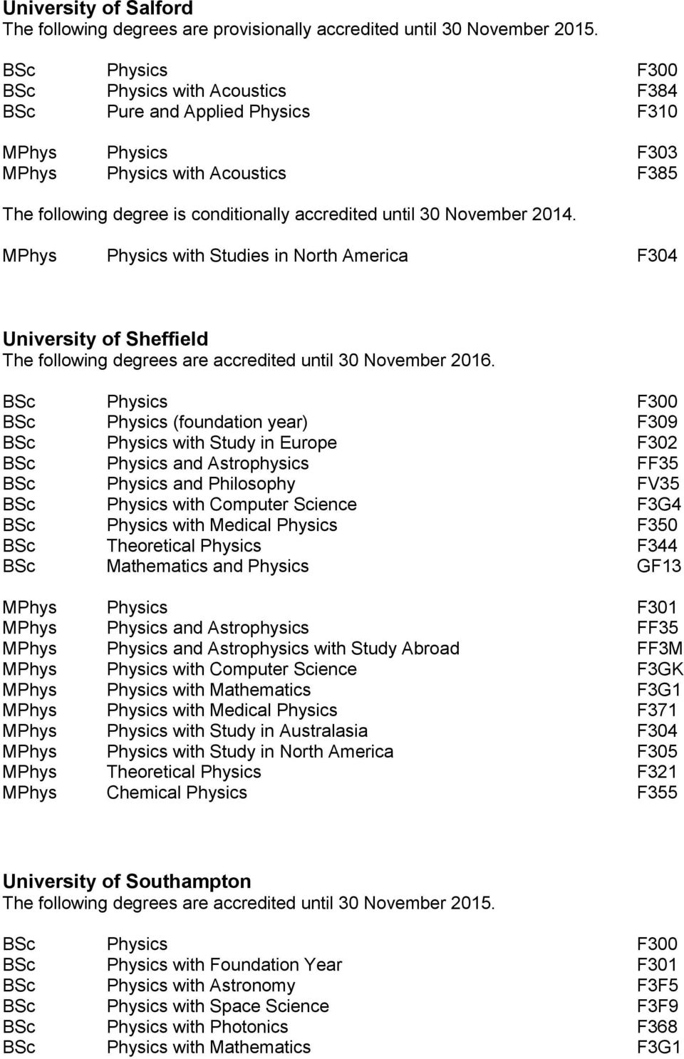 MPhys Physics with Studies in North America F304 University of Sheffield The following degrees are accredited until 30 November 2016.