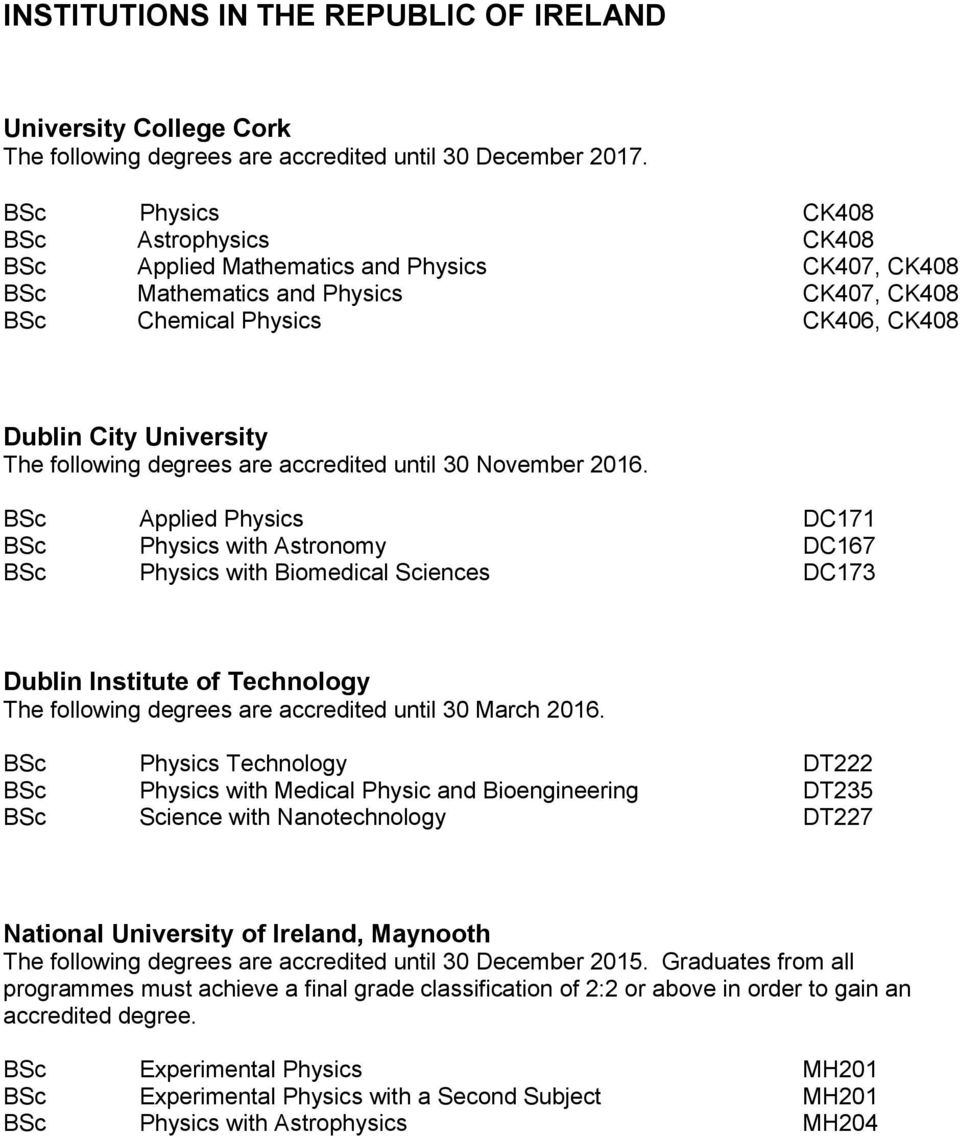 following degrees are accredited until 30 November 2016.