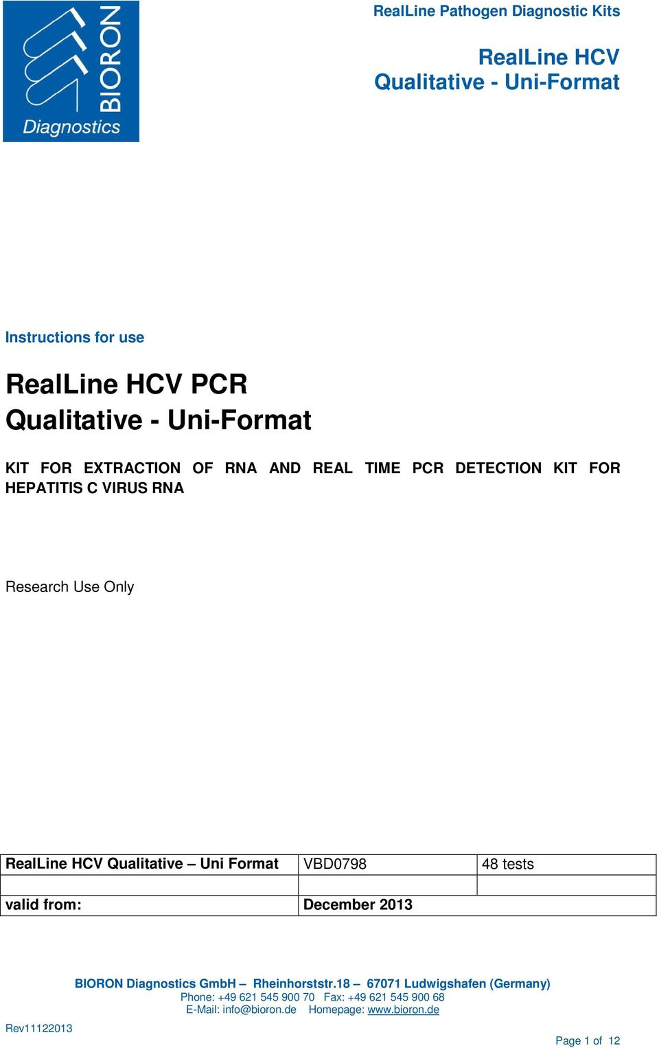 Research Use Only Qualitative Uni Format VBD0798 48