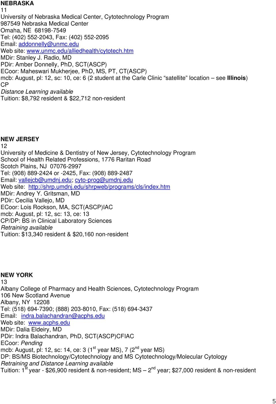 Radio, MD PDir: Amber Donnelly, PhD, SCT(AS) ECoor: Maheswari Mukherjee, PhD, MS, PT, CT(AS) mcb: August, pl: 12, sc: 10, ce: 6 (2 student at the Carle Clinic satellite location see Illinois)
