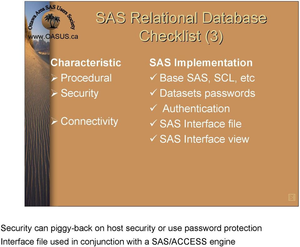 Authentication SAS Interface file SAS Interface view Security can piggy-back on