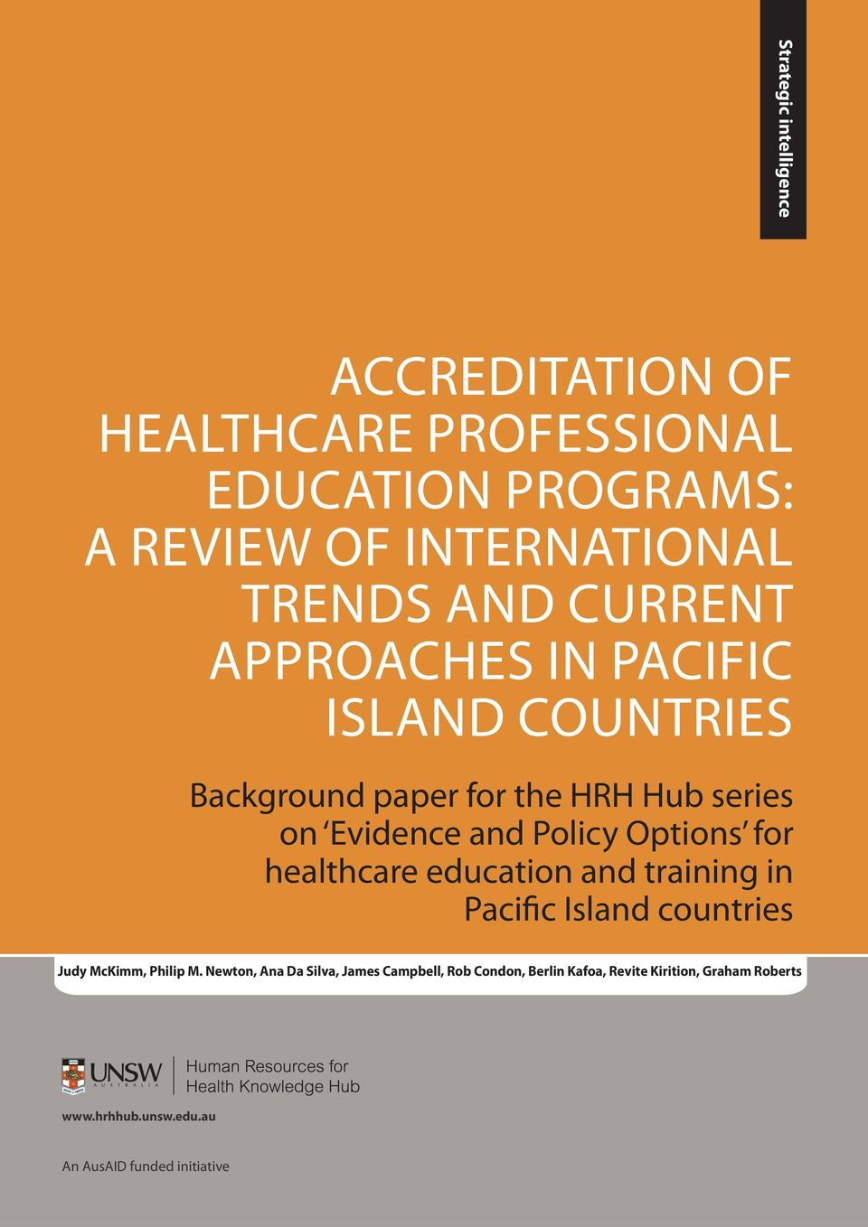 Options for healthcare education and training in Pacific Island countries Judy McKimm, Philip M.