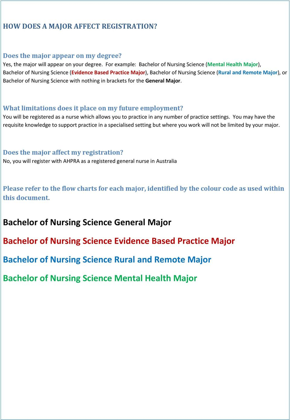 Nursing Science with nothing in brackets for the General Major. What limitations does it place on my future employment?