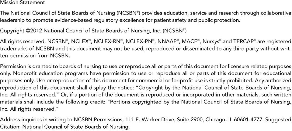 NCSBN, NCLEX, NCLEX-RN, NCLEX-PN, NNAAP, MACE, Nursys and TERCAP are registered trademarks of NCSBN and this document may not be used, reproduced or disseminated to any third party without written