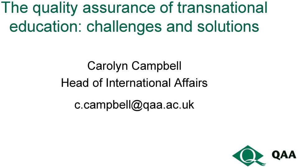 and solutions Carolyn Campbell Head