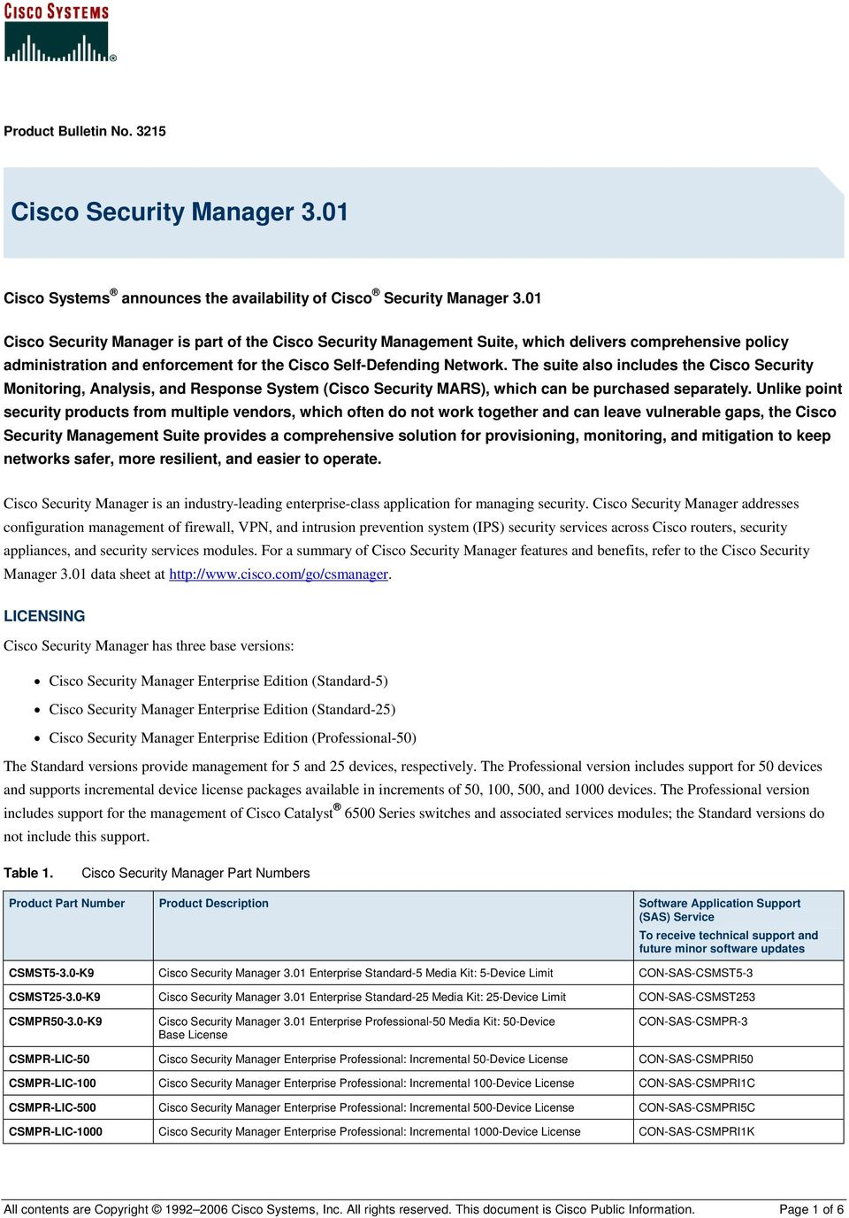 The suite also includes the Cisco Security Monitoring, Analysis, and Response System (Cisco Security MARS), which can be purchased separately.