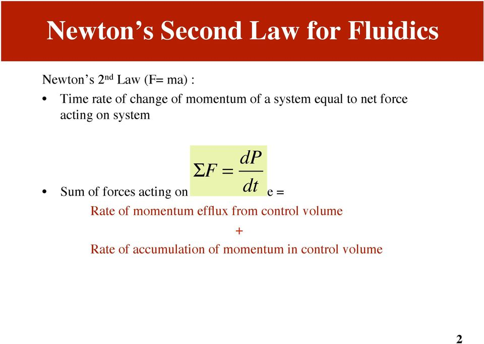 f = dp dt Sum of forces acting on control volume = Rate of momentum