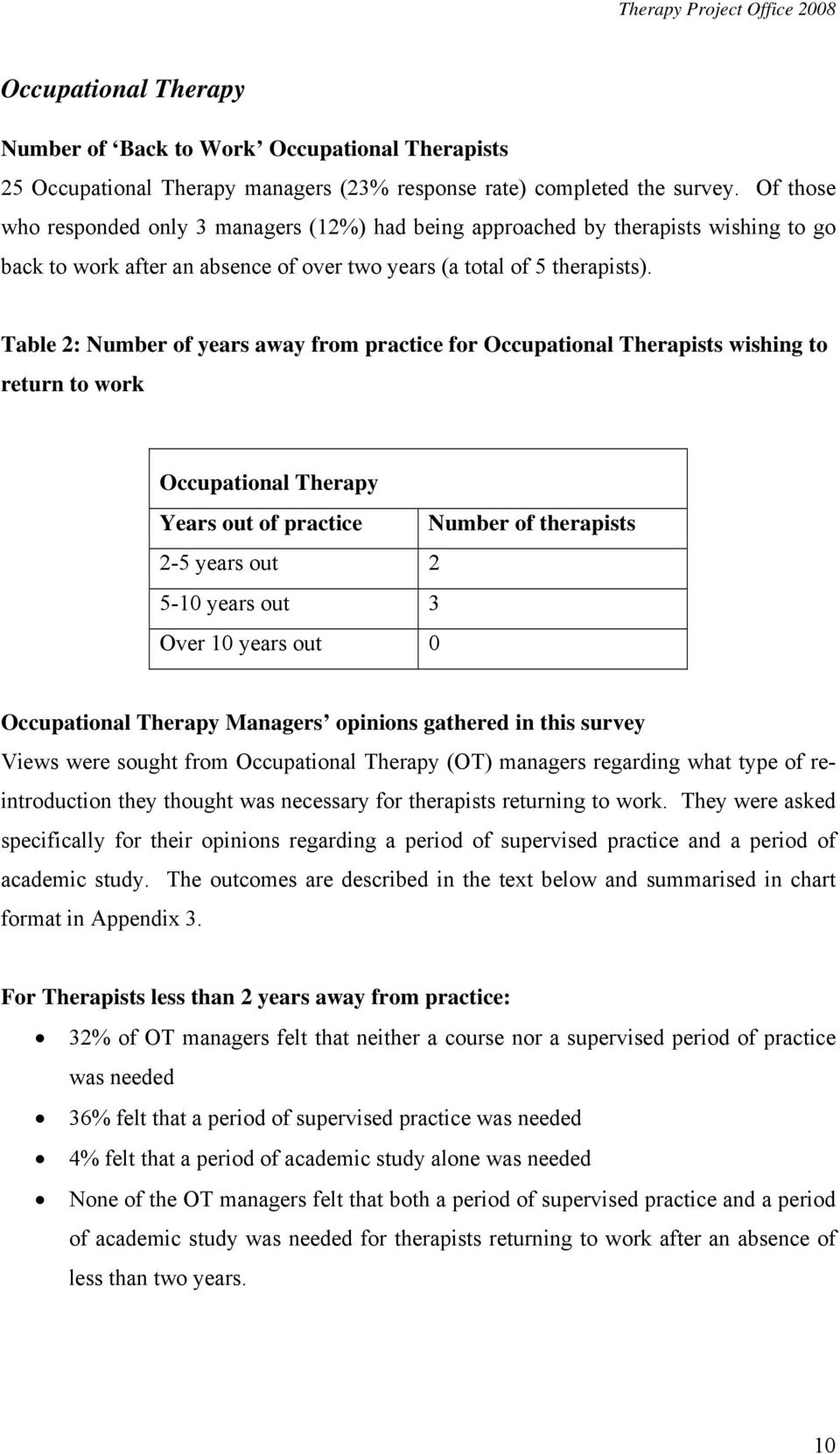 Table 2: Number of years away from practice for Occupational Therapists wishing to return to work Occupational Therapy Years out of practice Number of therapists 2-5 years out 2 5-10 years out 3 Over