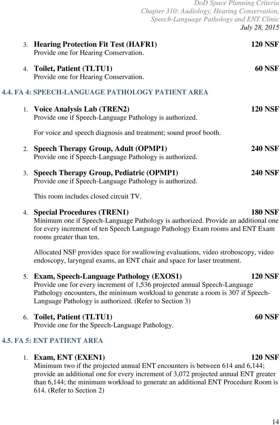 Speech Therapy Group, Adult (OPMP1) 240 NSF Provide one if Speech-Language Pathology is authorized. 3.