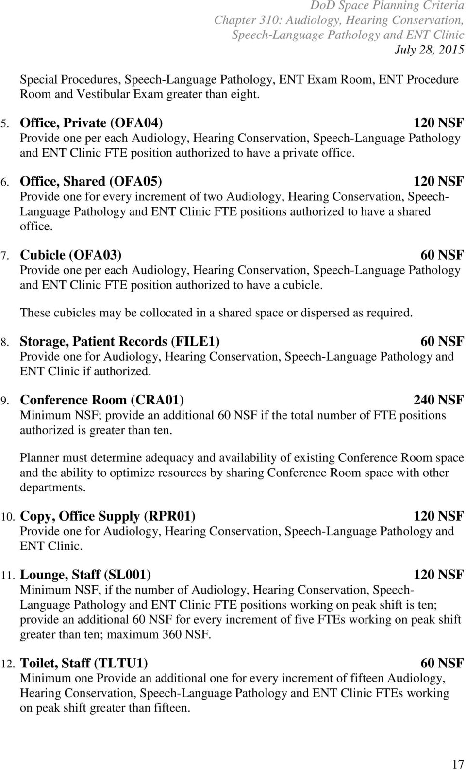 Office, Shared (OFA05) 120 NSF Provide one for every increment of two Audiology, Hearing Conservation, Speech- Language Pathology and ENT Clinic FTE positions authorized to have a shared office. 7.