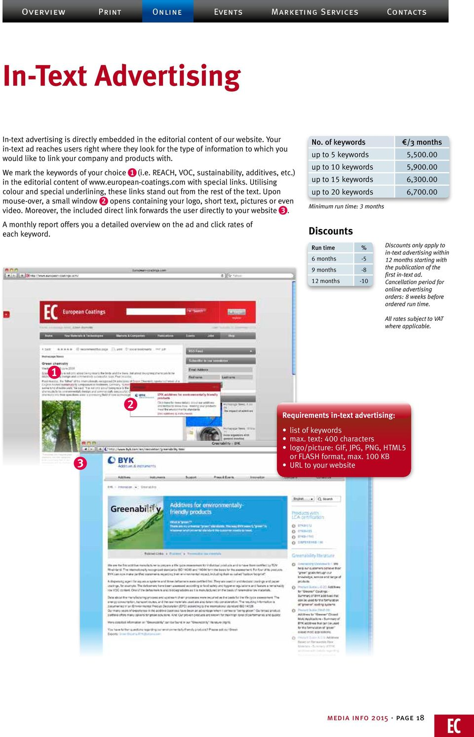 ) in the editorial content of www.european-coatings.com with special links. Utilising colour and special underlining, these links stand out from the rest of the text.