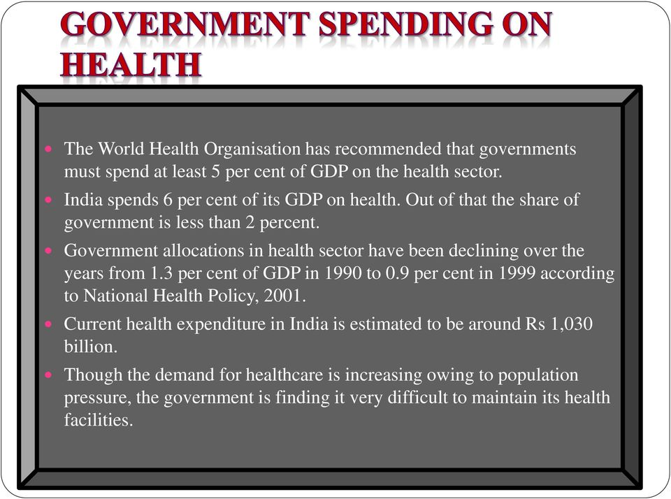 Government allocations in health sector have been declining over the years from 1.3 per cent of GDP in 1990 to 0.