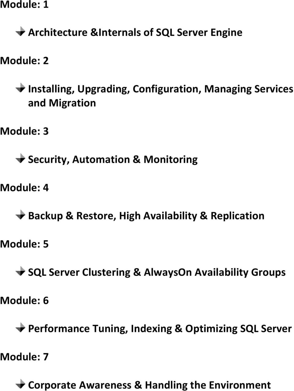 & Monitoring Backup & Restore, High Availability & Replication SQL Server Clustering & AlwaysOn