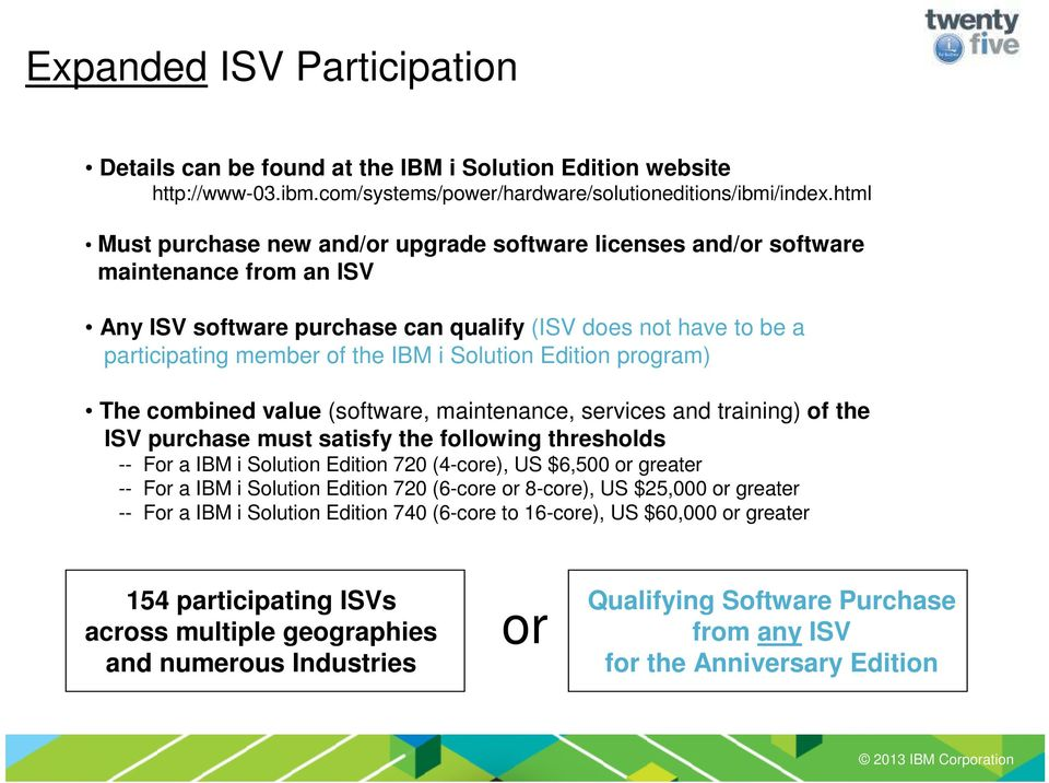 Solution Edition program) The combined value (software, maintenance, services and training) of the ISV purchase must satisfy the following thresholds -- For a IBM i Solution Edition 720 (4-core), US