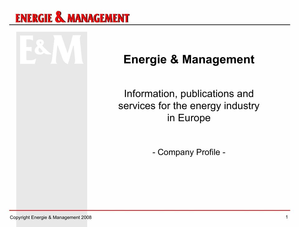 energy industry in Europe - Company