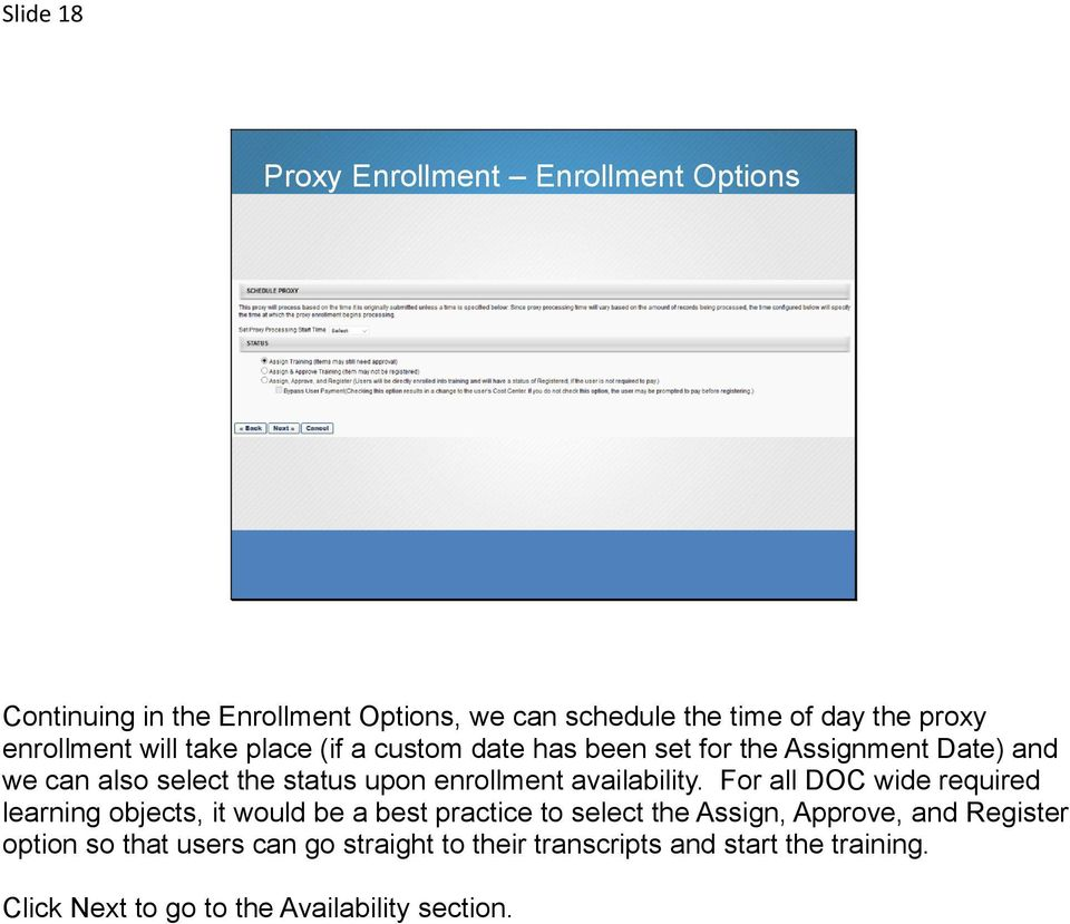 enrollment availability.